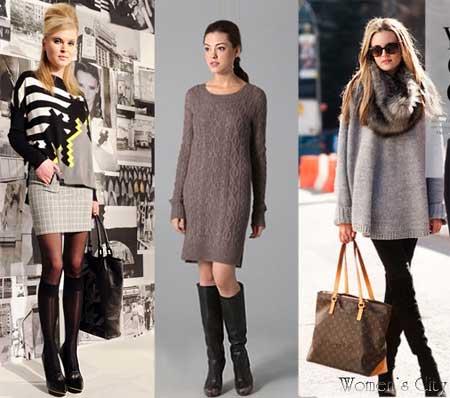 На фото: Свитера и вязаные платья в моде сезона